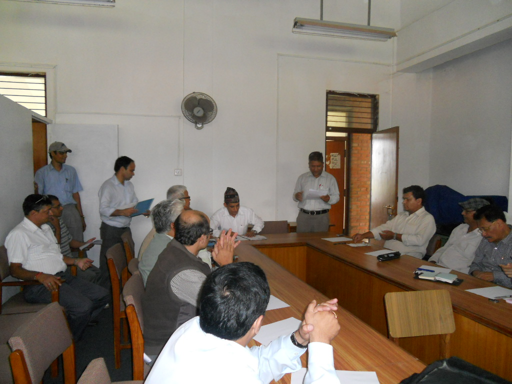 Mr. Kamal Poudel, General Secretary, LSN, at meeting with former presidents and Chief Editors on August 12, 2012