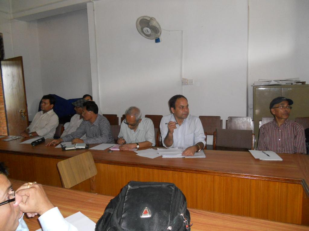 Dr. Dan Raj Regmi, former President, LSN, Prof. Dr. Yogendra Prasad Yadava, former President, Prof. Nirmal Man Tuladhar, former President, LSN, Prof. Dr. Tej Ratna Kansakar, former President, LSN, Mr. Kedar Bilash Nagila, Secretary, LSN, Dr. Simon Gautam, former Chief Editor, Nepalese Linguistics at LSN meeting with former presidents and Chief Editors on August 12, 2012