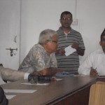 Mr. Bhim Narayan Regmi, Secretary, LSN, at meeting with former presidents and Chief Editors on August 12, 2012